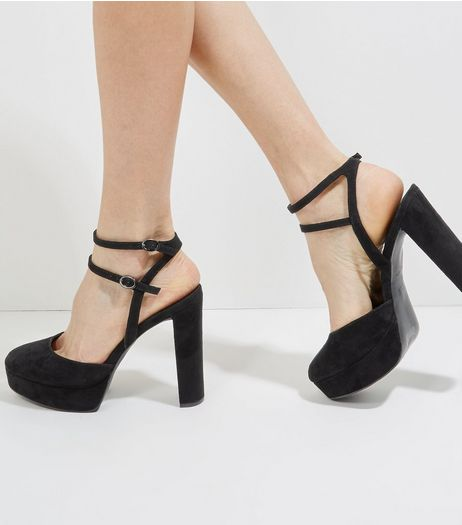 Black Suedette Double Ankle Strap Platform Heels | New Look