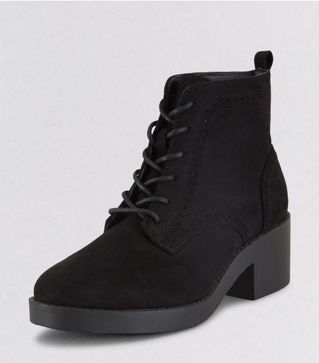 Teens Black Suedette Lace Up Boots | New Look