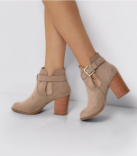 Wide Fit Light Brown Buckle Side Ankle Boots | New Look
