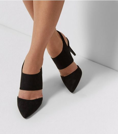 Black Suedette Double Wide Strap Pointed Heels | New Look
