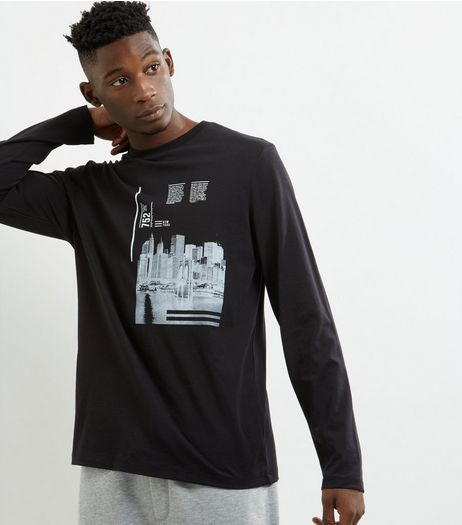 Black City Print Long Sleeve Sweater  | New Look