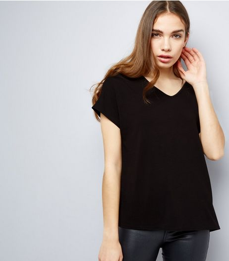 Black Eyelet Trim Tie Back Woven Top  | New Look
