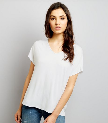 Cream Eyelet Trim Tie Back Woven Top  | New Look