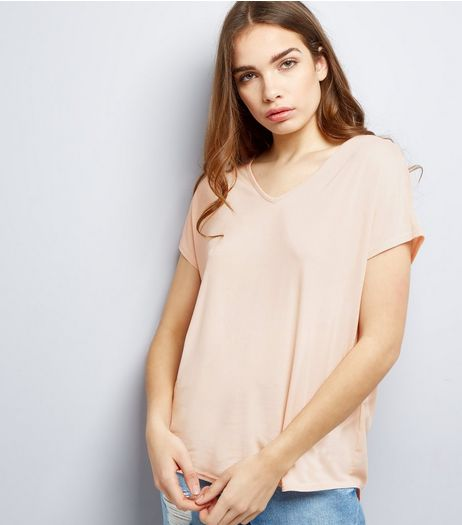 Mid Pink Eyelet Trim Tie Back Woven Top  | New Look