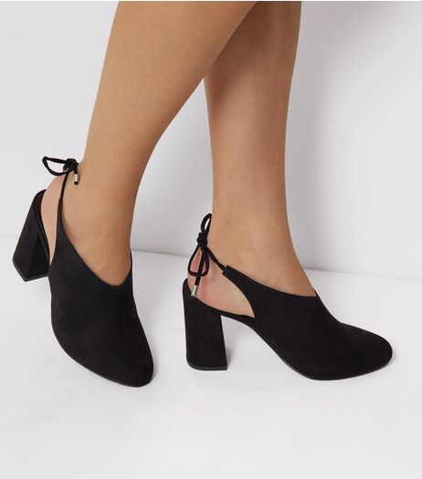 Wide Fit Suedette Tie Up Sling Back Heels | New Look