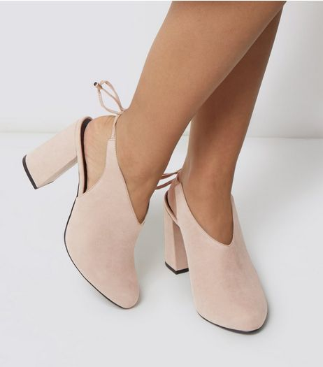 Wide Fit Mink Suedette Sling Tie Back Heels | New Look