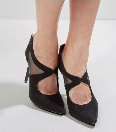 Black Suedette Mesh Front Pointed Heels | New Look