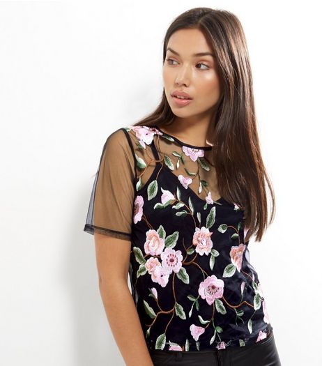 Black Mesh Floral Embroidered T-Shirt  | New Look