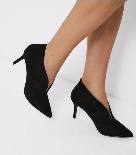 Black Suedette V Throat Toe Pointed Heels | New Look