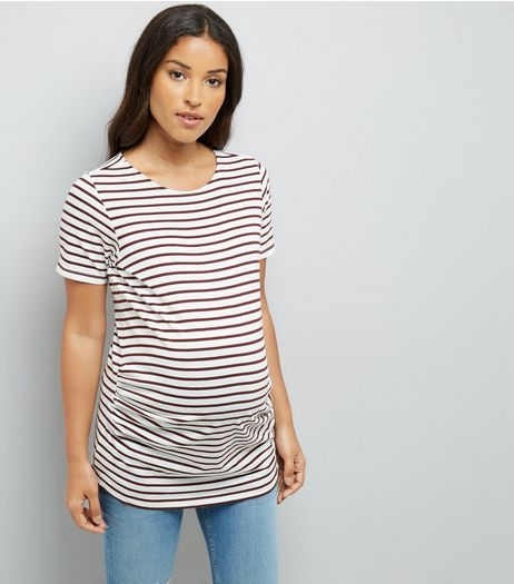 Maternity Burgundy Stripe T-Shirt | New Look
