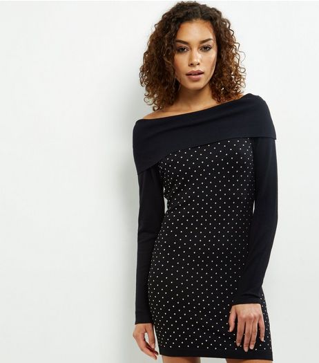 Blue Vanilla Black Studded Bardot Dress | New Look