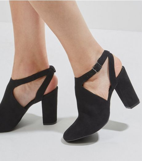 Black Suedette Sling Back Cut Out Side Heels | New Look