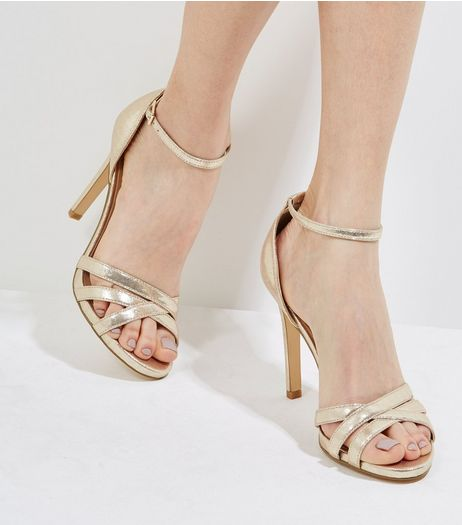 Gold Cross Front Ankle Strap Heels | New Look