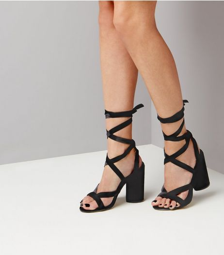 Black Velvet Tie Up Block Heels | New Look