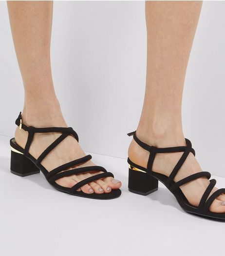 Black Suedette Tube Strap Sandals | New Look