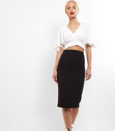 Black Crepe Scuba Midi Pencil Skirt  | New Look