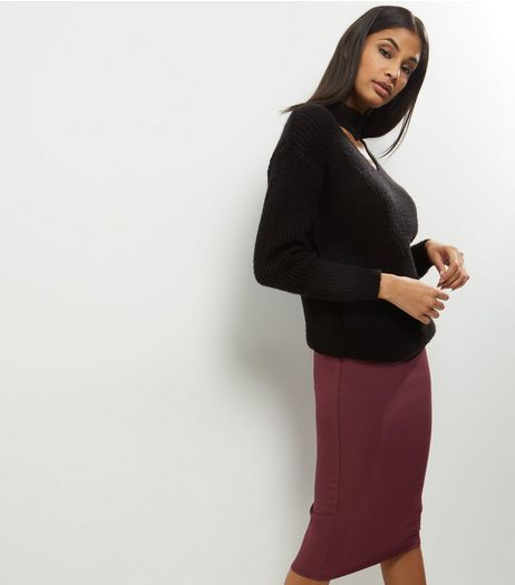Burgundy Crepe Scuba Midi Pencil Skirt | New Look