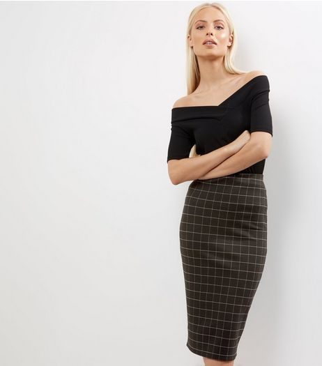 Black Check Pencil Skirt | New Look