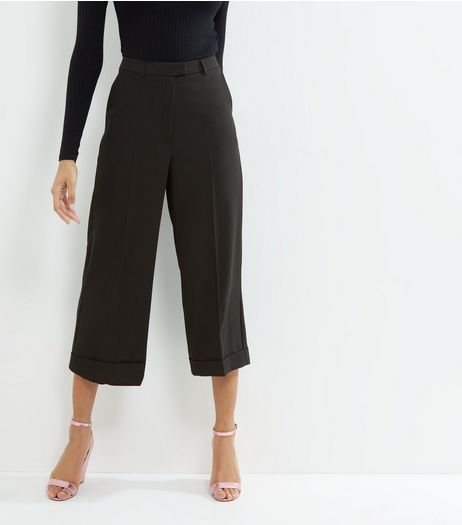 Black Turn Up Hem Cropped Trousers  | New Look
