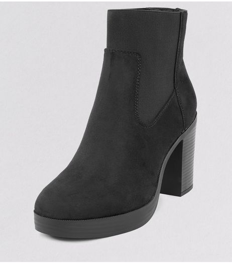 Wide Fit Black Suedette Chunky Platform Boots | New Look