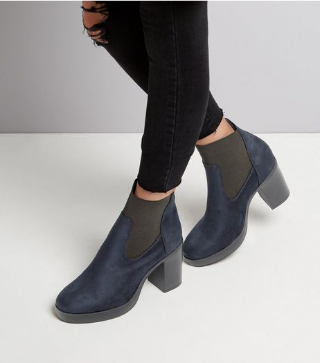 Wide Fit Navy Suedette Chunky Platform Boots | New Look
