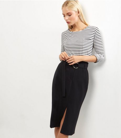 Black Belted Midi Pencil Skirt | New Look