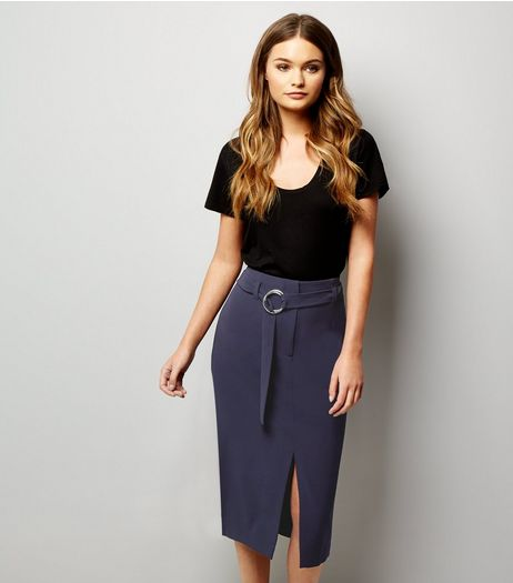 Navy Hoop Trim Belted Split Front Pencil Skirt  | New Look