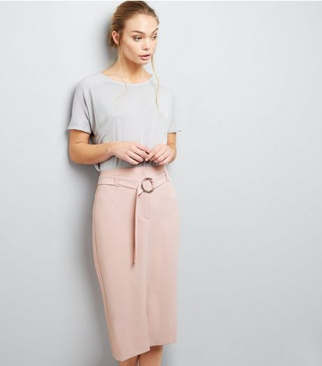 Mid Pink Belted Midi Pencil Skirt | New Look