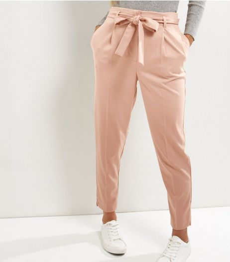 Mink Tie Waist Trousers  | New Look