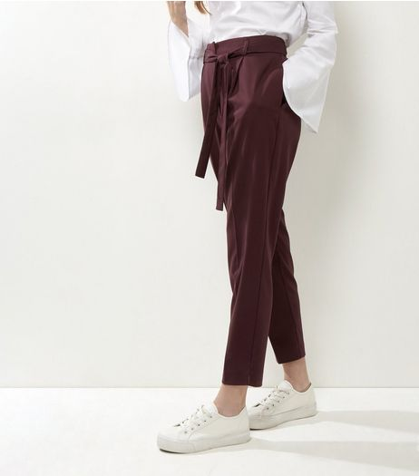 Burgundy Tie Waist Tapered Trousers | New Look