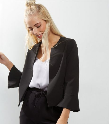 Black Bell Sleeve Blazer | New Look