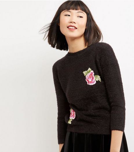 Blue Vanilla Black Floral Badge Jumper | New Look