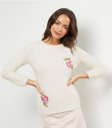 Blue Vanilla Cream Floral Badge Jumper | New Look