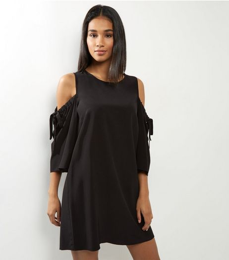 Black Cold Shoulder Tie Sleeve Shift Dress  | New Look