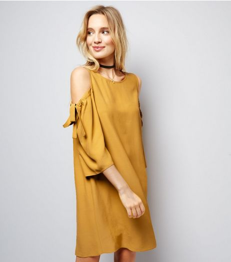 Yellow Cold Shoulder Tie Sleeve Shift Dress | New Look
