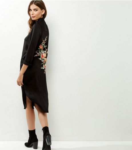 Blue Vanilla Black Floral Embroidered Longline Shirt  | New Look