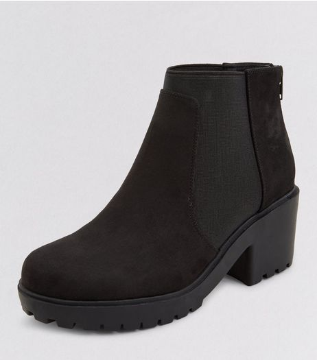 Teens Black Suedette Zip Back Chelsea Boots | New Look