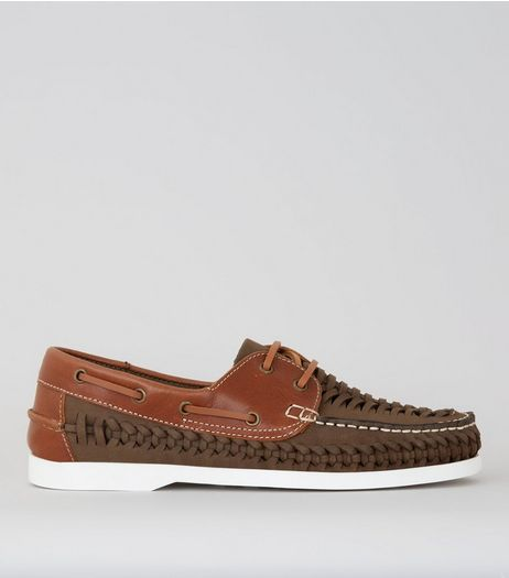 Brown Leather Woven Boat Shoes | New Look