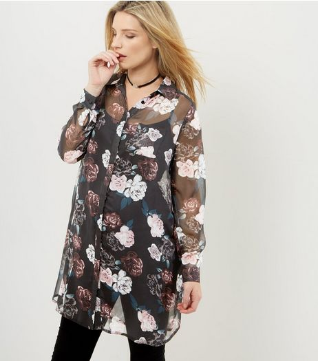 Maternity Black Floral Print Chiffon Longline Shirt | New Look