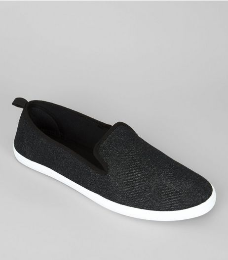 Black Canvas Slip On Plimsolls  | New Look