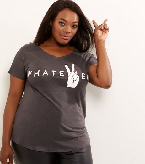 Curves Grey Whatever T-shirt | New Look