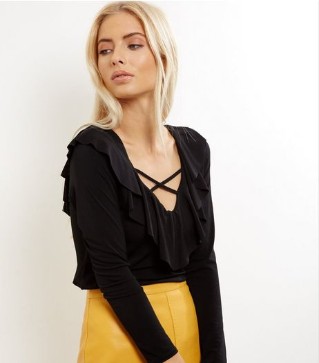 Black Cross Strap Front Frill Trim Top | New Look