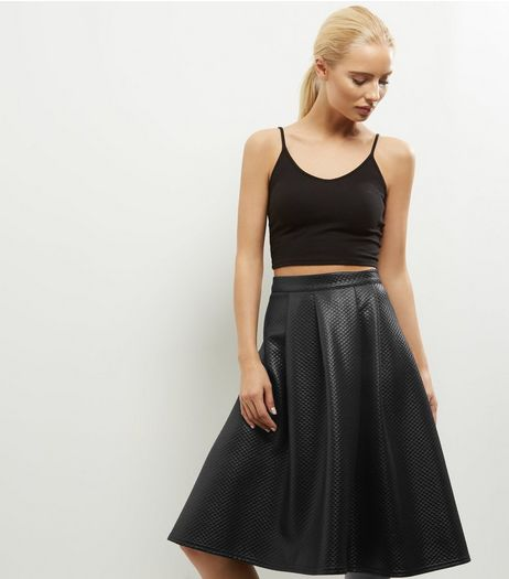 Black Quilted Leather-Look Midi Skirt  | New Look