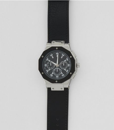 Black Hexagon Dial Oversized Watch  | New Look