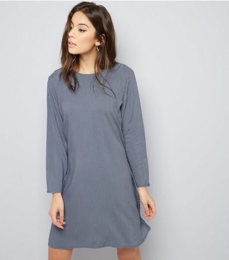 JDY Blue Stripe Long Sleeve Dress  | New Look