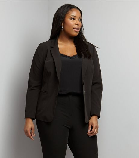 Curves Black Button Front Blazer | New Look
