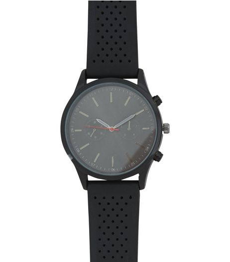 Black Rubber Strap Watch | New Look
