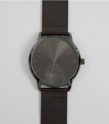 Black Mesh Strap Watch | New Look