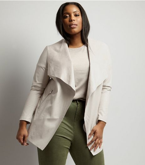 Curves Mink Leather-Look Waterfall Jacket | New Look