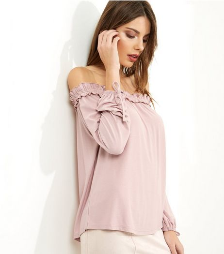 Mid Pink Frill Trim Tie Sleeve Bardot Neck Top  | New Look